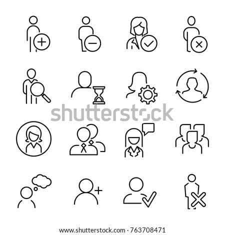 Set of premium human icons in line style. High quality outline symbol collection of user. Modern linear pictogram pack of period. Stroke vector illustration on a white background.