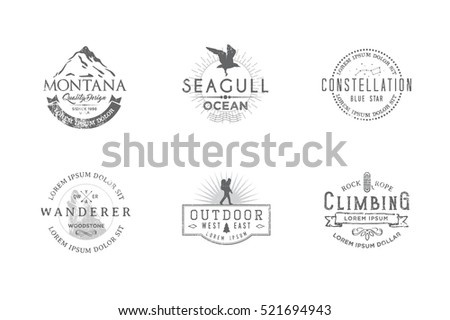 Set of premium labels on the themes of wildlife, hunting, travel, wild nature, climbing, camping, life in the mountains, survival. Retro, vintage, casual design. #6