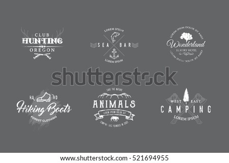 Set of premium labels on the themes of wildlife, hunting, travel, wild nature, climbing, camping, life in the mountains, survival. Retro, vintage, casual design. #1