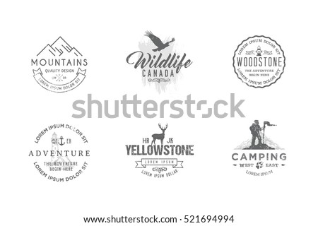 Set of premium labels on the themes of wildlife, hunting, travel, wild nature, climbing, camping, life in the mountains, survival. Retro, vintage, casual design. #8