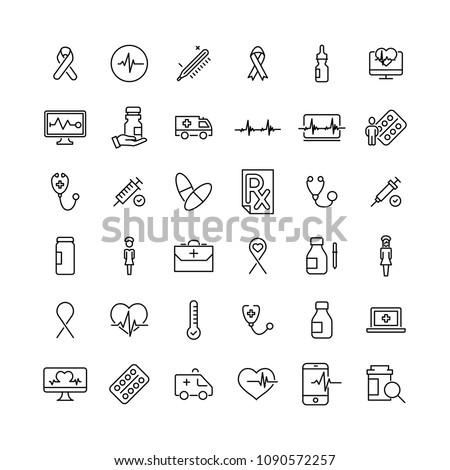 Set of premium medical icons in line style. High quality outline symbol collection of health. Modern linear pictogram pack of pill.