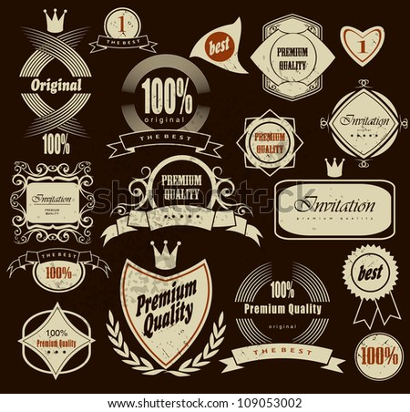 Set of Premium Quality and Guarantee Label with retro vintage styled design, vector