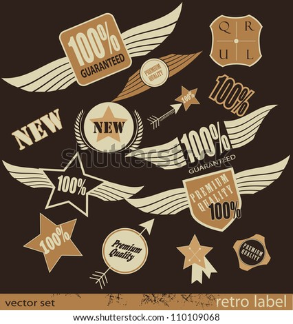 Set of Premium Quality and Guarantee retro Labels with retro vintage styled design