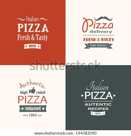 set of premium quality pizza labels eps8