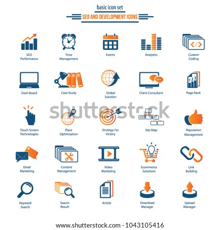 Set of premium quality Vector SEO Search Engine Optimisation Elements and Icons Illustration can be used for any project.