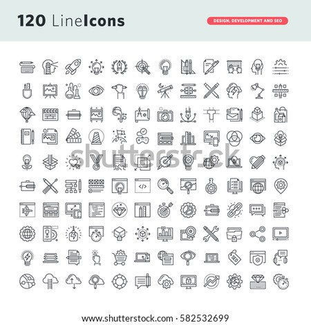 Set of premium vector thin line icons for graphic design, website design and development, app development, seo.