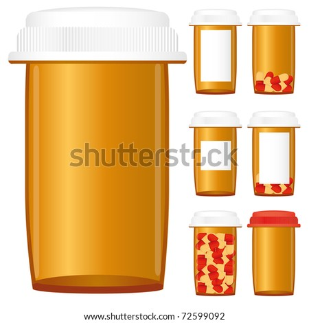 Set of prescription medicine bottles isolated on a white background, vector illustration - stock vector