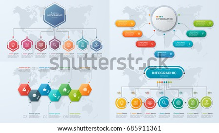 Set of presentation business infographic templates with 7 options. Vector illustration.