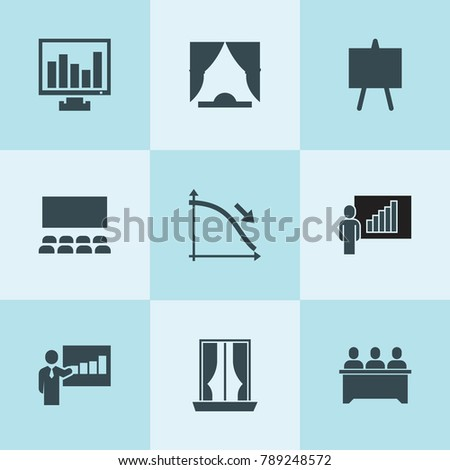 Set of 9 presentation filled icons such as lecturer, lesson, chart on display, curtain, easel, cinema hall, curtains