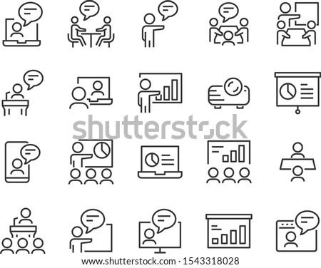set of presentation icons, meeting, seminar, teamwork, training, presentation