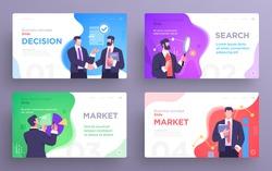 Set of Presentation slide templates or landing page websites design. Business concept illustrations. Modern flat style. Vector illustration