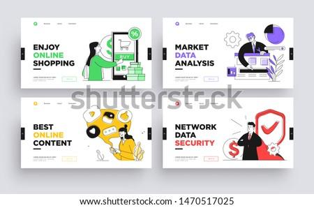 Set of Presentation slide templates or landing page websites design. Business concept illustrations. Modern flat outline style.