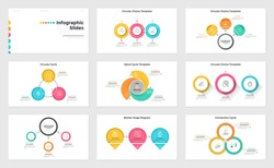 Set of presentation slides or pages - process diagrams, spiral graph, cycle chart. Modern infographic design templates. Simple flat vector illustration for business information visualization.