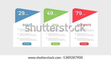 set of pricing table, order, box, button, list for web