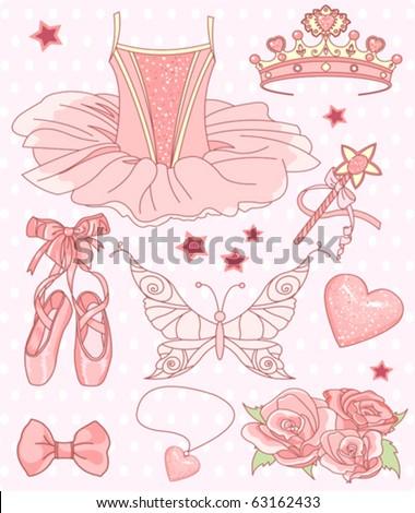 Set of Princess ballerina accessories