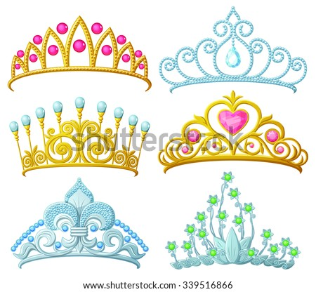 Set of princess crowns (Tiara) isolated on white. Vector illustration. Сток-фото ©