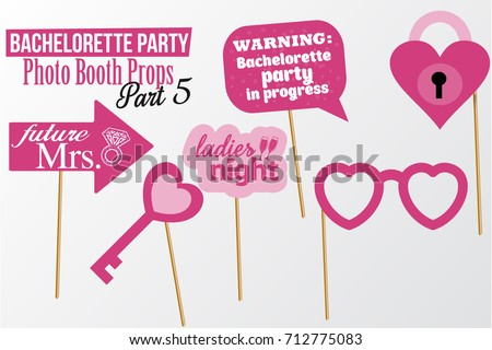 Set Of Printable Bachelorette Photobooth Props Vector Elements Pink Color Template Heart Lock Key
