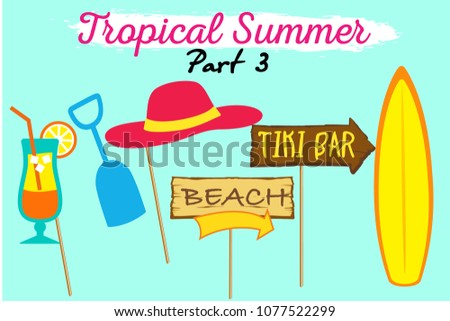 set of printable tropical party