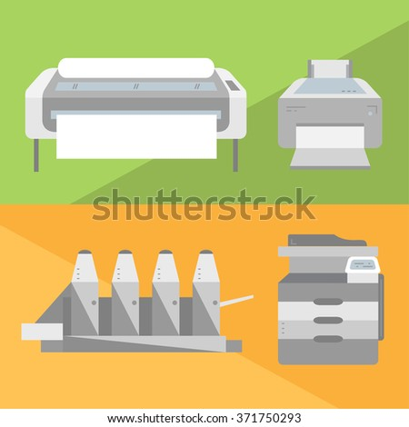 Set of printers illustrations in flat style. Laser-jet, ink-jet, large format printer and offset machine icons.