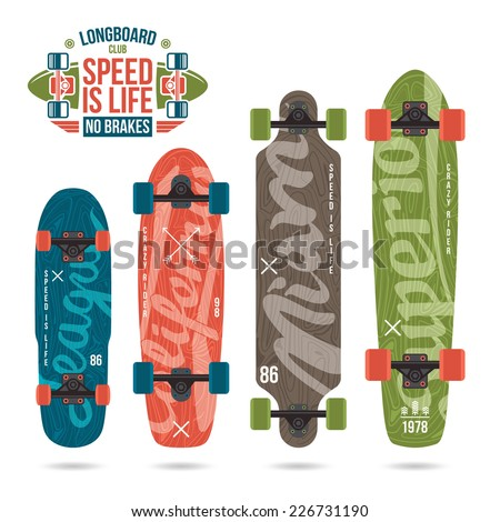 Set of prints on longboard in retro style Lettering print variety form