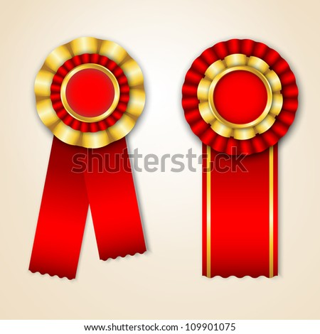 Set of prize ribbons with place for text
