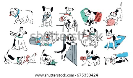 Set of problem with bad dog behavior collection. Silly puppy barks, run off, goes to the toilet, digs in the garbage. Colorful doodle set. Cute vector hand drawn illustrations on white background.