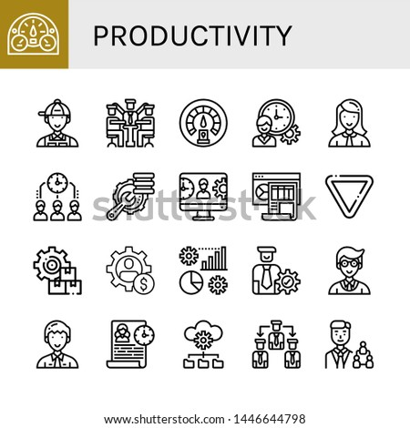 Set of productivity icons such as Dashboard, Manager, Time management, Optimization, Management, Yield, Manage , productivity