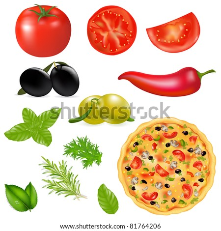 Set Of Products With Pizza, Isolated On White Background, Vector Illustration