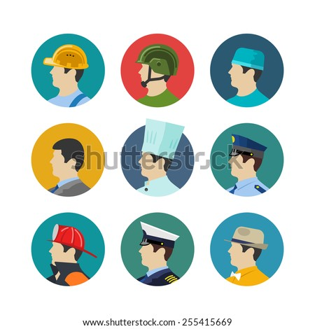 Set of profession icons isolated in circle. Soldiers and builder, fireman and a cook, a doctor and captain. Vector illustration
