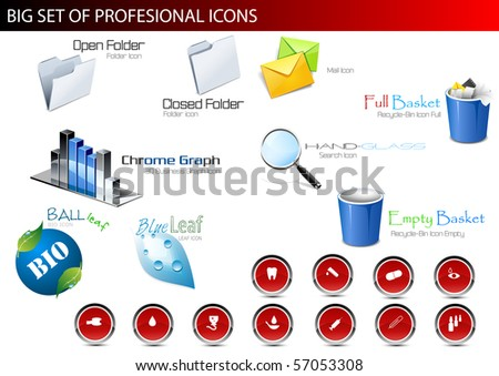 Set of professional icons. Vector illustration.