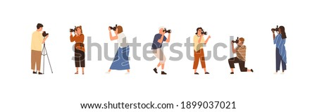 Set of professional photographers or cameramen at work. Collection of creative men and women holding cameras and taking photos. People photographing. Colorful flat vector illustration Stockfoto ©