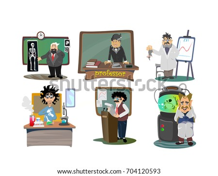 Set of Professors near the blackboard at university lecture, teacher in class at lesson teaching, higher education in the college, school vector illustration