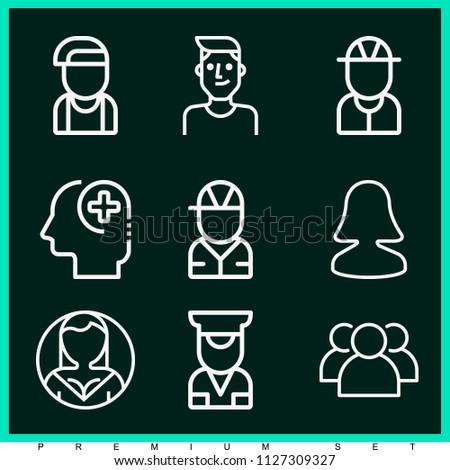 Set of 9 profile outline icons such as group, user, boy, engineer, painter, police
