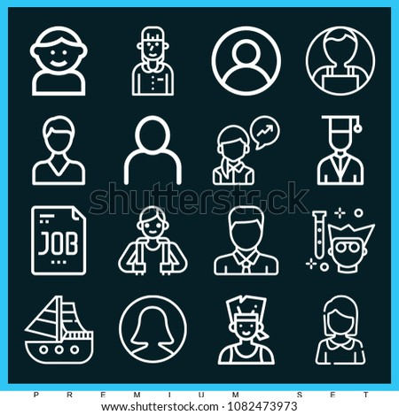 Set of 16 profile outline icons such as user, businesswoman, woman, boy, job, avatar