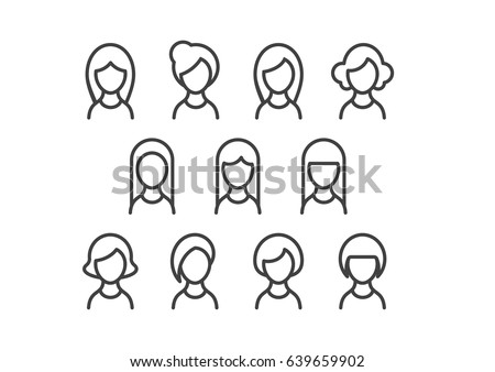 Set of profile picture icons of women with beautiful hairstyles in line style