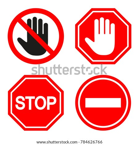 set of prohibiting sign signs