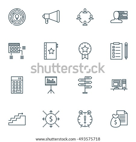 Set Of Project Management Simple Revenue Icons On Personality, Creativity, Task List And More. Premium Quality EPS10 Line Vector Illustration Of Revenue Icons For Mobile, App, Logo, UI Design.