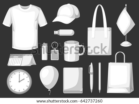 Set of promotional gifts and advertising souvenirs. #642737260