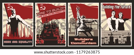 set of propaganda posters work
