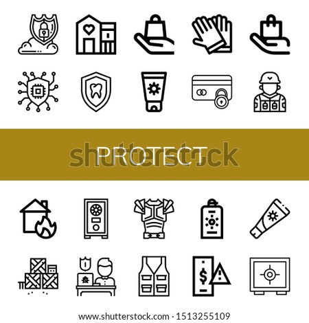 Set of protect icons such as Data protection, Security, Shelter, Shield, Handle with care, Sunscreen, Gloves, Secure payment, Soldier, House on fire, Defense, Safe box , protect