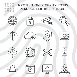Set of Protection Security Vector Line Icons. Contains such as fingerprints, padlocks, cameras, safes, umbrellas and more. Editable Stroke.