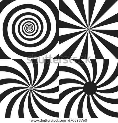 set of psychedelic spiral with