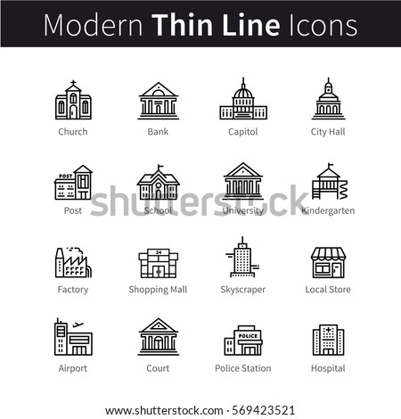 Set of public, government & commercial city buildings and institutions. Thin black line art icons. Linear style illustrations isolated on white.