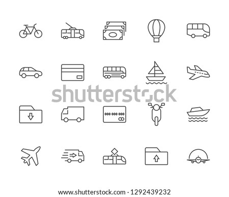 Set of Public Transport Related Vector Line Icons. Contains such Icons as Bus, Bike, Scooter, Car, balloon, Truck, Tram, Trolley, Sailboat, powerboat, Airplane and more. Editable Stroke. 32x32 Pixel #1292439232