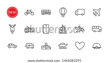 Set of Public Transport Related Vector Line Icons. Contains such Icons as Bus, Bike, Scooter, Car, balloon, Truck, Tram, Trolley, Sailboat, powerboat, Airplane and more. Editable Stroke.