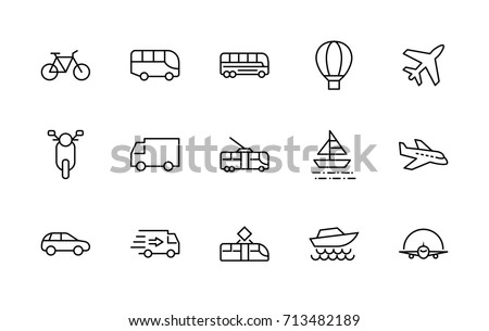 Set of Public Transport Related Vector Line Icons. Contains such Icons as Bus, Bike, Scooter, Car, balloon, Truck, Tram, Trolley, Sailboat, powerboat, Airplane and more. Editable Stroke. 32x32 Pixel - Shutterstock ID 713482189