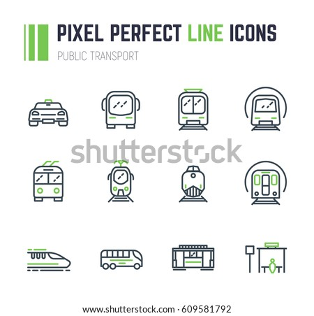 Set of 12 public transport thin line style icons. Taxi and bus. Electrical transport, tram, subway, train. Public bus stop sign. Speed monorail train and locomotive. Old trolleybus