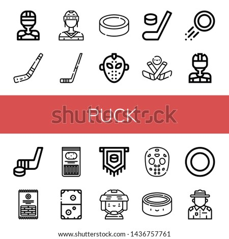 Set of puck icons such as Hockey player, Hockey stick, Puck, Hockey mask, Ice Sticks, Air Ranger , puck