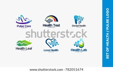 Set of Pulse care logo, Health Test logo, Dental Pulse symbol, Nature logo template, Love Health, Pulse Laboratory
