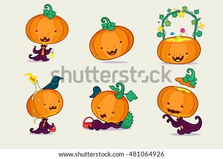 Set of pumpkin character, Halloween character. #481064926